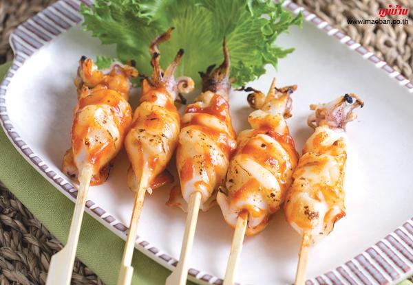 ปลาหมึกไส้ชีสซอสเกาหลี สูตรอาหาร วิธีทำ แม่บ้าน