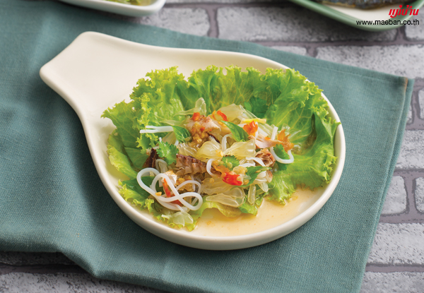 เมี่ยงส้มโอปลาทูทอด สูตรอาหาร วิธีทำ แม่บ้าน