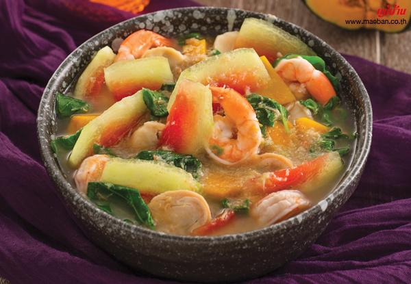 แกงเลียงเปลือกแตงโมกุ้งสด สูตรอาหาร วิธีทำ แม่บ้าน
