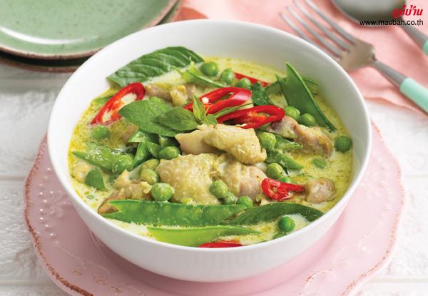 แกงเขียวหวานไก่ใส่ถั่วลันเตา สูตรอาหาร วิธีทำ แม่บ้าน