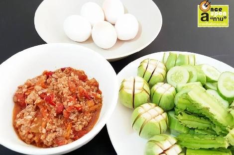 น้ำพริกอ่องอกไก่  สูตรอาหาร วิธีทำ แม่บ้าน