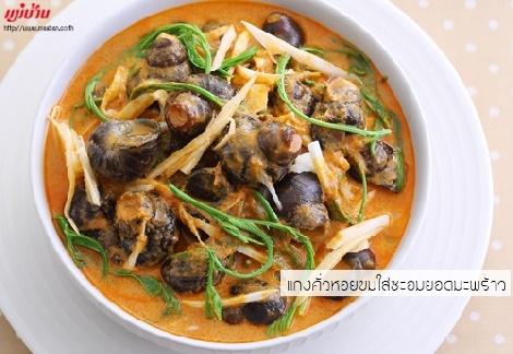 แกงคั่วหอยขมใส่ชะอมยอดมะพร้าว สูตรอาหาร วิธีทำ แม่บ้าน