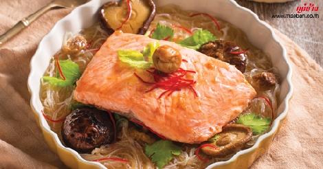 ปลาแซลมอนนึ่งบ๊วย สูตรอาหาร วิธีทำ แม่บ้าน