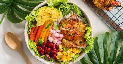Chicken Burrito Bowl สูตรอาหาร วิธีทำ แม่บ้าน