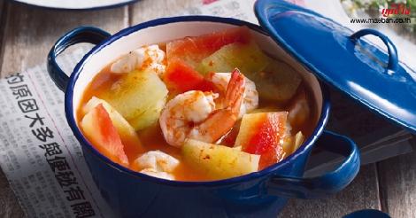 แกงส้มเปลือกแตงโม สูตรอาหาร วิธีทำ แม่บ้าน