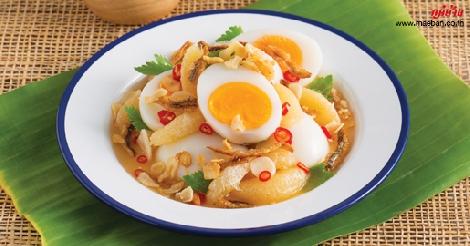 ไข่ต้มปลากรอบมะกรูดหวานรสแซ่บ สูตรอาหาร วิธีทำ แม่บ้าน