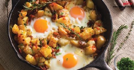 มันฝรั่งอบไข่ สูตรอาหาร วิธีทำ แม่บ้าน