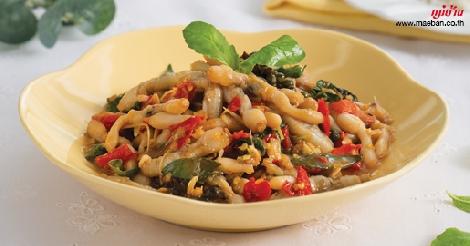 หอยหลอดผัดฉ่า (สมุทรสงคราม) สูตรอาหาร วิธีทำ แม่บ้าน