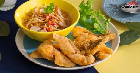 พล่าเต้าเจี้ยวปลาทอด สูตรอาหาร วิธีทำ แม่บ้าน