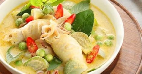 แกงเขียวหวานปลาหมึกยัดไส้ สูตรอาหาร วิธีทำ แม่บ้าน