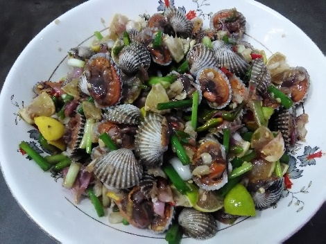 หอยแครงแซบ สูตรอาหาร วิธีทำ แม่บ้าน
