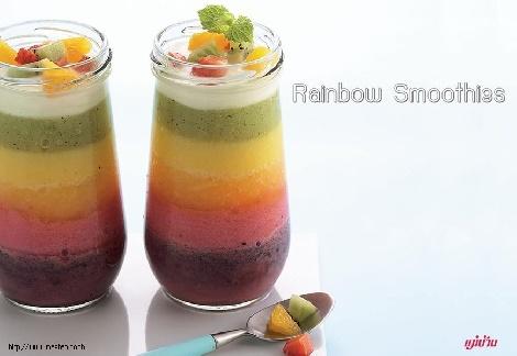 Rainbow Smoothies สูตรอาหาร วิธีทำ แม่บ้าน