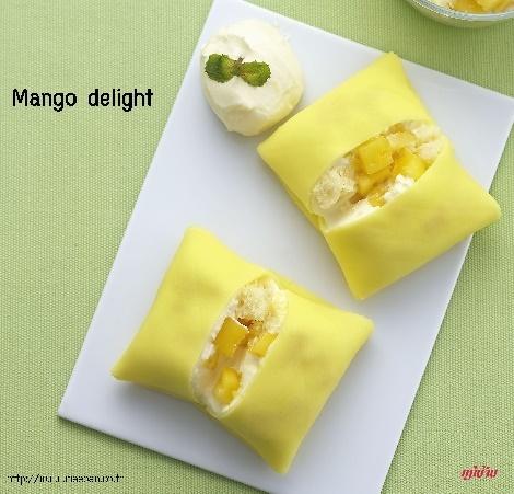 Mango delight สูตรอาหาร วิธีทำ แม่บ้าน