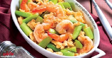 แตงกวาผัดไข่ปลาอินทรีกุ้งสด สูตรอาหาร วิธีทำ แม่บ้าน